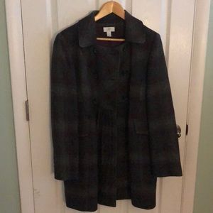 LOFT grey/plum plaid double breasted coat - sz 10